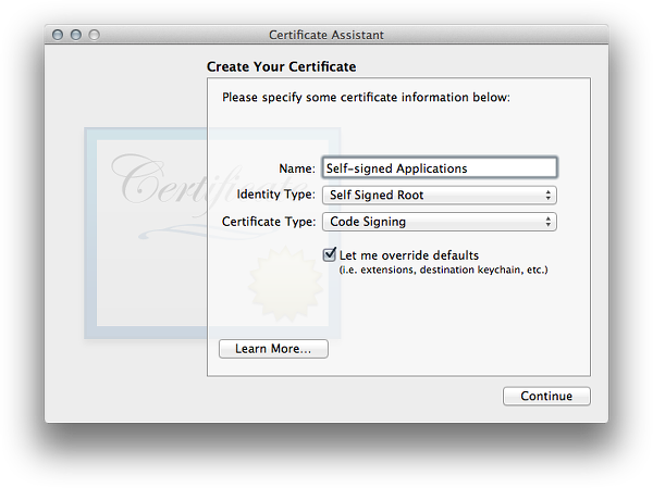 Creating a Self-signed Code Certificate for XCode - bd808.com
